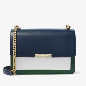 Grand sac à bandoulière Jade en cuir tricolore